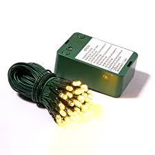 battery operated lights with timer shop vickerman 35 count constant yellow wide angle led battery