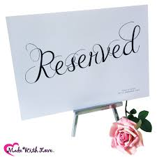 reserved signs for wedding tables wedding accessory extra bits to buy reserved wedding signs