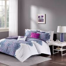 Teen Floral Bedding Floral Medallion Purple White Teen Bedroom Comforter Set Full