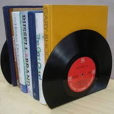 rock n roll vintage vinyl lp record bookends great music lover