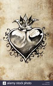 heart tattoo sketch handmade design over vintage paper stock