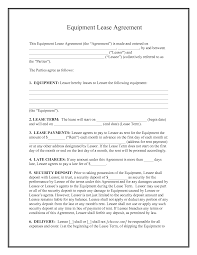 equipment rental lease agreement template sample vlashed