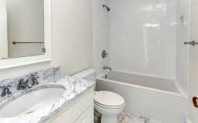marble counter and subway tile shower u2013 home design examples