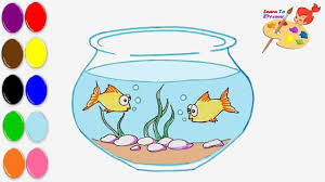 how to draw a fish bowl coloring pages for kids art colors for