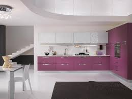 modern kitchen tile flooring minimalist kitchen design with purple kitchen cabinet storage and