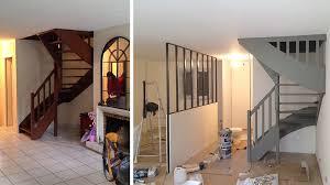escalier entre cuisine et salon avant après créer une cuisine ouverte pour moderniser