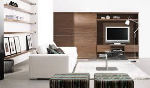 minimalist home interior using white wall and rectangular brown