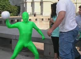 Green Man Meme - behind the scene 2 green man hits dee with a volleyball know
