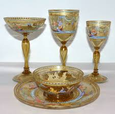 venetian hand blown and hand painted gilt glass set by salviati