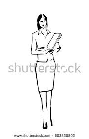 business look woman woman papers sketch stock illustration