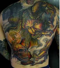 tattoo back face men full back decorated with ultimate demon face tattoo design image