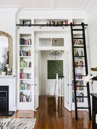 Timber Bookcases Built In White Bookcase Shelves Around Doorway French Doors