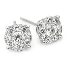 white gold diamond earrings 3 4 ct tw diamond studs 14k white gold