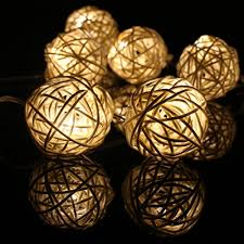 rattan ball fairy lights party land 20 balls home decoration light brown skin color rattan