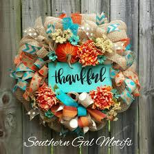 turquoise u0026 orange thankful fall wreath fall halloween