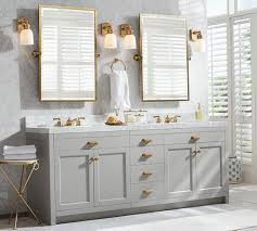 amazing bathroom ideas light gray vanity with gold framed pivot mirrors for amazing