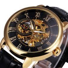 2016 forsining 3d logo royal design black gold men mechanical