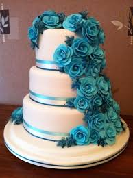 3 tier wedding cake teal roses 3 tier wedding cake cake by looby69 cakesdecor