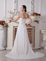 white wedding gown strapless ruched sash chiffon wedding dress