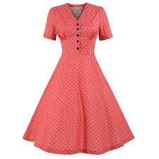 ionia coral polka dot tea dress vintage style dresses lindy