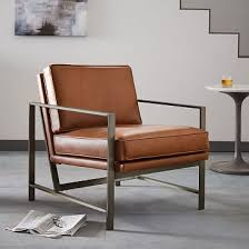 Industrial Armchair Metal Frame Leather Chair West Elm