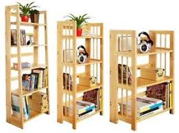 Foldable Bookcases Natural Rubberwood Book Shelf Stand Wooden Shelves Unit Folding