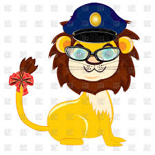 cartoon lion in police peaked cap and glasses vector clipart image