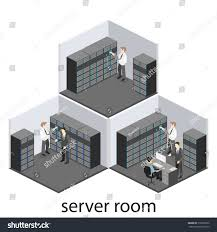 isometric interior server room flat vector stock vector 516856522