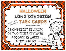 halloween long division task cards differentiated by lauren marion