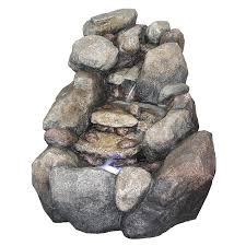 Lowes Pebble Rocks by Shop Garden Treasures 2 Tier Faux River Rock Fountain With Light