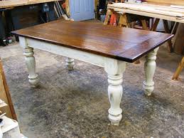 Distressed White Table Farmers Tables For Kitchen Custom Oak Wood Farmhouse Table By