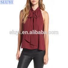 sleeveless tie neck blouse 2017 blouses for summer sleeveless tie neck