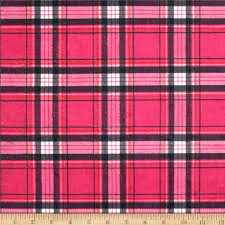 minky new plaid pink black discount designer fabric fabric