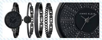 anne klein bracelet set images Black bangle watch and bracelet set jpg