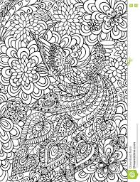 peacock and floral garden coloring page stock vector image 75096577