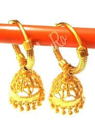 gold jhumka hoop earrings gold plated jhumka hoop earring amro collections kolkata id