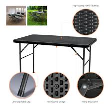 4ft square folding table ikayaa 4ft folding cing picnic table portable outdoor garden
