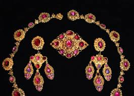 Garnet Chandelier Earrings Antique Parure Set Cannetille Garnet Necklace Earring Brooch