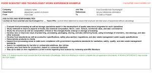 Food Industry Resume Industry Resume Example