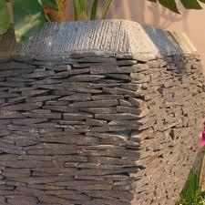 pas japonais en pierre naturelle pot de jardin en ardoise galbé naturel h 50 cm