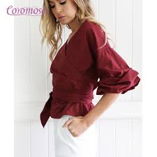 wrap shirts blouses coromose summer office wear blouses shoulder v neck