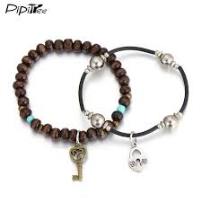 charm bracelet infinity images Korean style couple leather bracelets infinity love key lock jpg