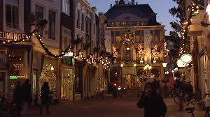 cafe window christmas decorations gouda the netherlands stock