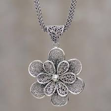 sterling silver flower necklace images Sterling silver flower necklace fair trade peruvian jewelry jpg