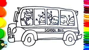 how to draw bus coloring pages kids songs learn drawing