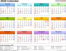 2020 calendar 17 free printable excel templates xlsx