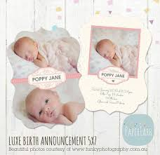 newborn birth announcement luxe card template bb001 paper lark