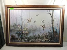 Balwin C Balwin Flying Goose Oil Painting Framed