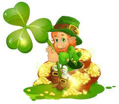 saint patrick u0027s day leprechaun with pot of gold and shamrock png