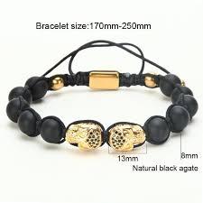 black beaded charm bracelet images Twin skull beads charm bracelet gold road to man jpg